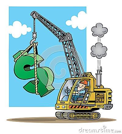 增强一个大符号美元的绿色的建筑用起重机的动画片例证.v符号资质证书图片