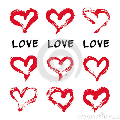 墨水心脏卡片 套9手画墨水心脏 网站,固定式printables,织品, scrapb图片