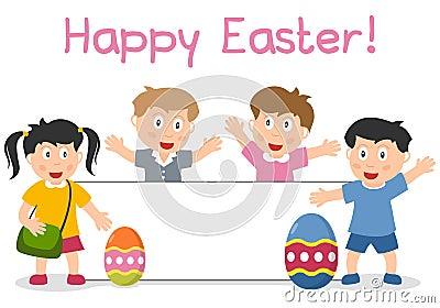 复活节孩子和横幅