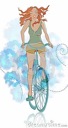 夏天自行车微笑的女孩