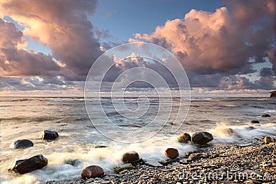 多岩石的海滩