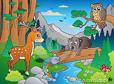 图库摄影: 多种1个动物森林场面图片