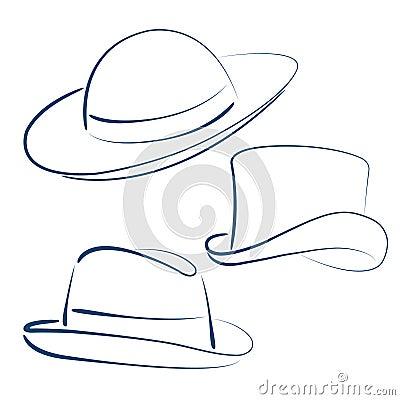 速写的夫人和绅士帽子的例证.图片