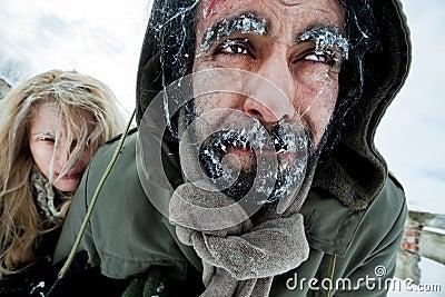 夫妇冻结的奋斗的幸存者