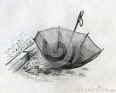 失去的伞草图