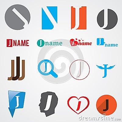 套信件j的字母表标志图片