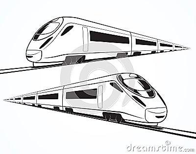 套现代高速火车剪影图片