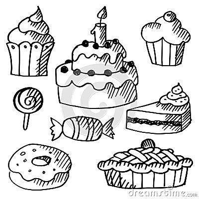 套各种各样的甜点,蛋糕和杯形蛋糕,黑被隔绝的乱画剪影,例证.