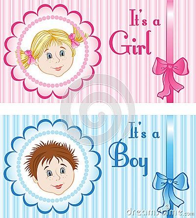 婴孩公告卡片