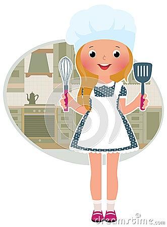 女孩厨师在厨房里图片