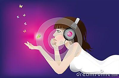 女孩听音乐图片