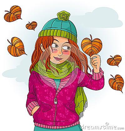 女孩在秋天