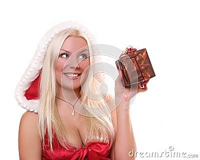 女孩当前圣诞老人 库存照片