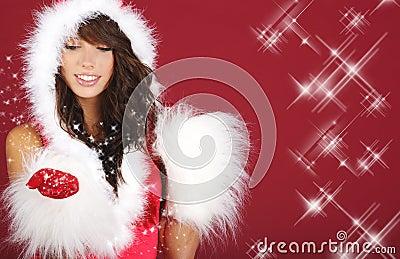 女孩性感的圣诞老人