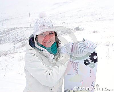 女孩挡雪板