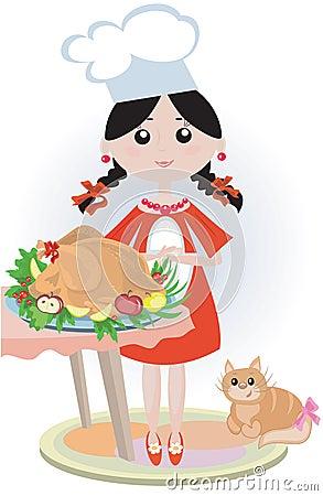 厨师女孩kichen火鸡.图片