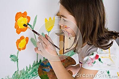 女孩绘画 库存照片 图片
