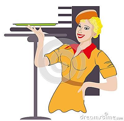 女服务员。 行业。