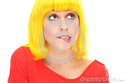 妇女尖酸的嘴唇