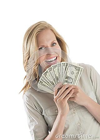 妇女藏品扇动了一美金