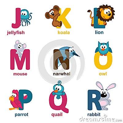 �J��R�_字母表动物从j到r -导航例证.
