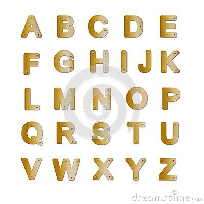 字母表黄铜名牌