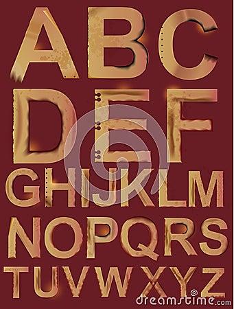 字母表grunge纸张