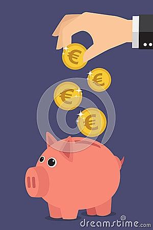 向量例证: 存钱罐欧元图片