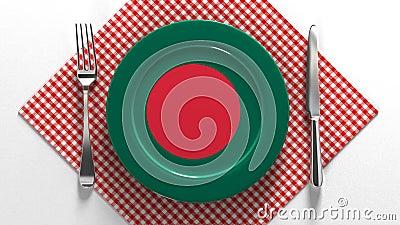 孟加拉国国菜 美味的菜谱 一盘印有孟加拉国食物的旗子 股票视频