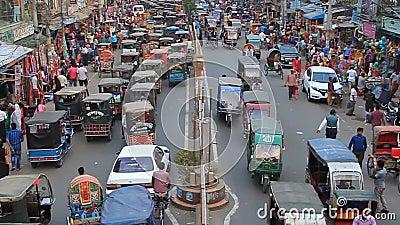 孟加拉国拉杰沙希市萨赫布巴扎尔路交通 股票录像