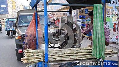 孟加拉国拉杰沙希市街头甘蔗汁生产商 股票视频
