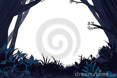 孩子的例证:黑暗的森林插件边框 现实意想不到的动画片样式艺术品图片