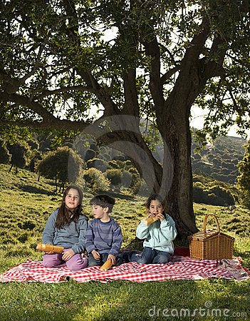 孩子野餐三