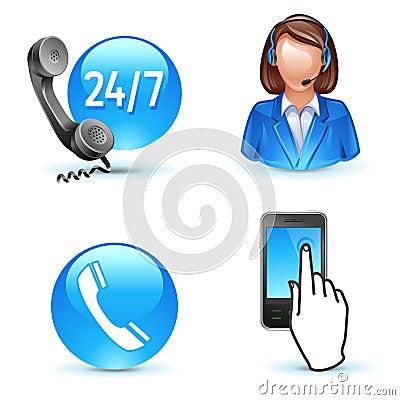 呼叫中心客户图标移动电话服务支持.