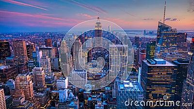 对夜timelapse的4K UltraHD天在纽约