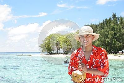对热带欢迎的海滩