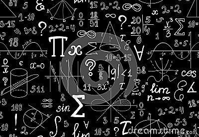 导航与各种各样的数学符号,图和手写的数字的数学无缝图片