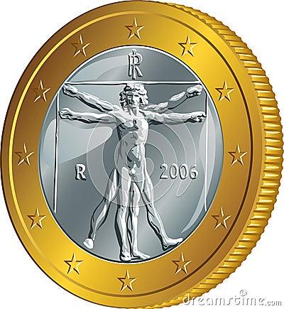 与vitruvian人的图象的意大利金钱金币欧元列奥纳多达芬奇.图片