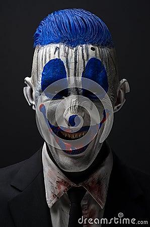 疯狂演播室01_小丑疯狂的蛇神蓝色在夹克演播室.
