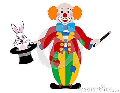 出现的帽子打扮充分的愉快的小丑魔术魔术师鸽子v帽子.兔子暖多蛋图片