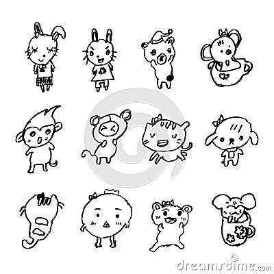 小女孩得出的动物动画片乱画,例证传染媒介.图片