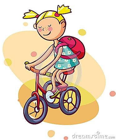 小女孩骑自行车. 孩子享受夏天.图片