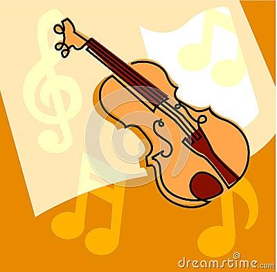 小提琴和音符图片