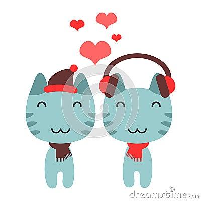 小猫逗人喜爱的夫妇