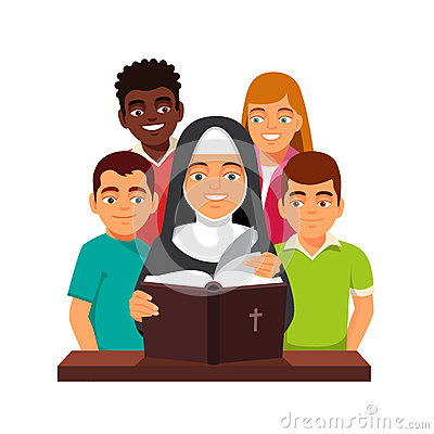 尼姑读圣经给混合的族种青少年的孩子 在白色背景隔绝的平的样式传染图片