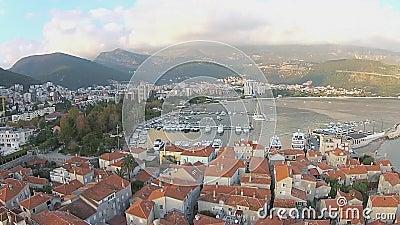 黑山,布德瓦,老镇,海,直升机视图 影视素材