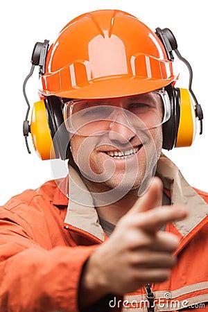 建筑安全安全帽盔甲指点白色的建筑工程师或体力工人人被隔绝.图片