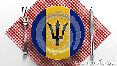 巴巴多斯国菜 美味的菜谱 盘子上挂着巴巴多斯食物的旗帜 股票录像