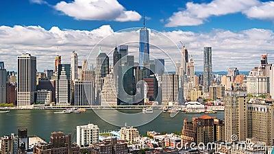 从布鲁克林的纽约曼哈顿覆盖树荫Timelapse 股票视频