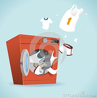 干净和明亮的洗衣店